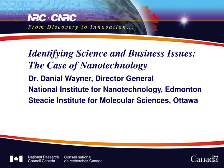 identifying science and business issues the case of nanotechnology n.