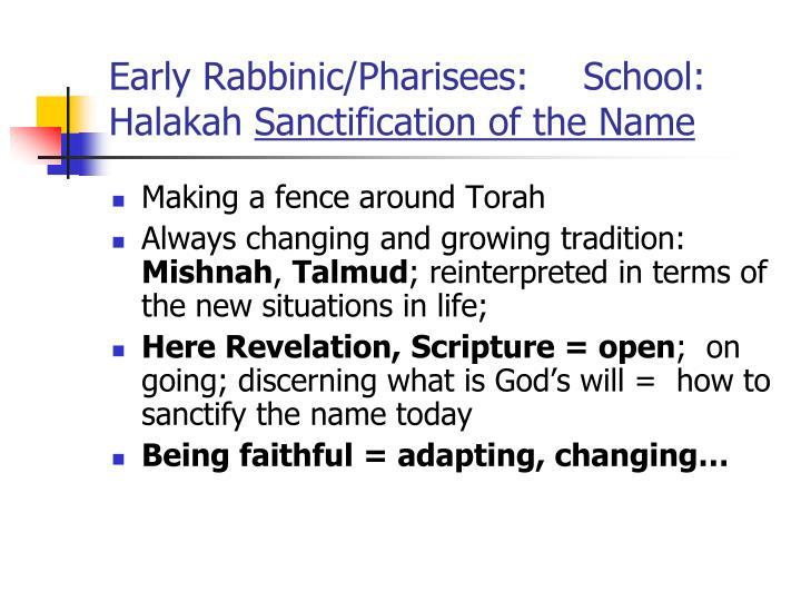 Early Rabbinic/Pharisees:
