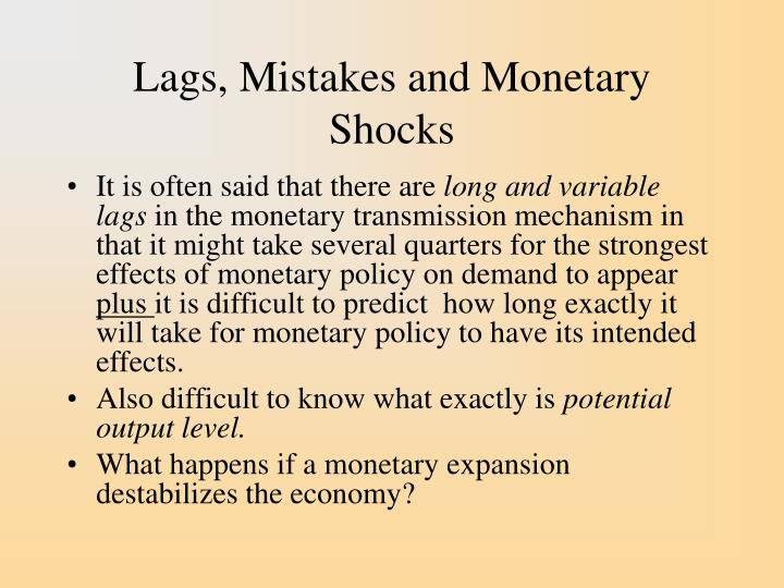 Lags, Mistakes and Monetary Shocks