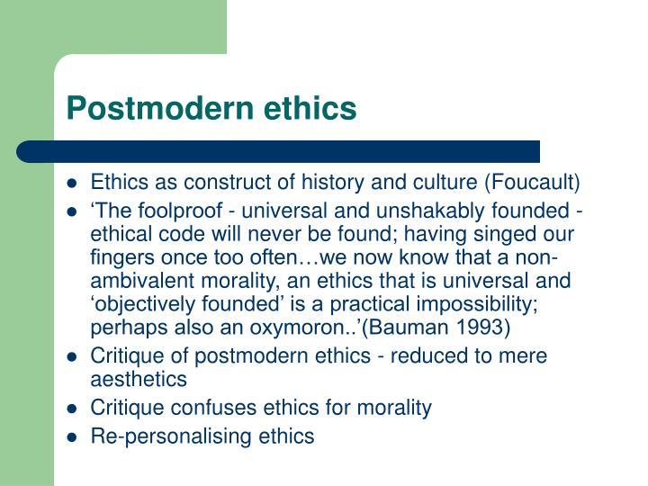 bauman postmodern ethics