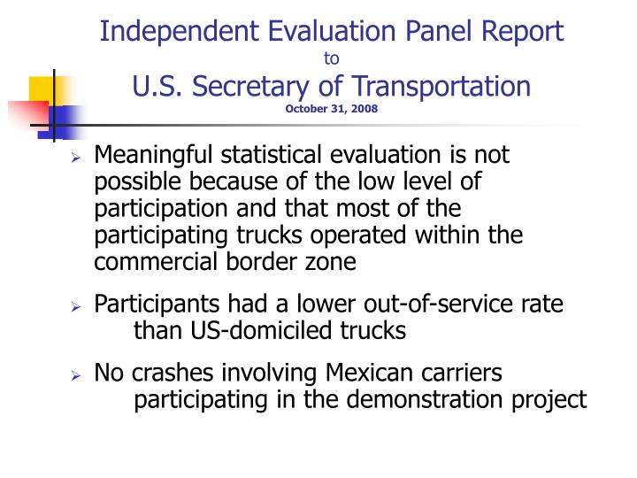 Independent Evaluation Panel Report