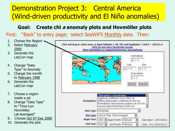 Demonstration Project 3:   Central America
