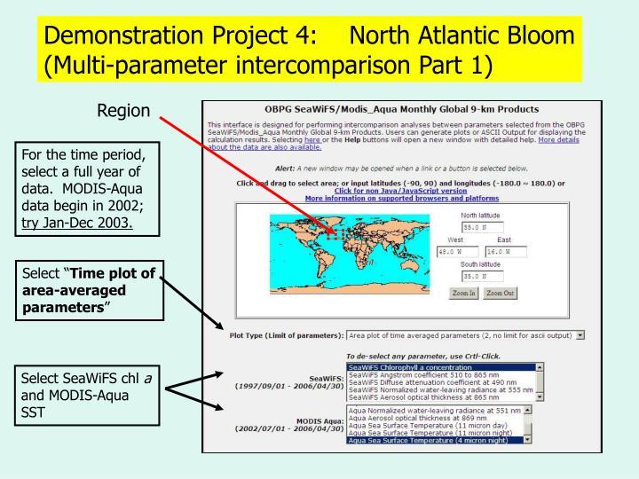 Demonstration Project 4:    North Atlantic Bloom