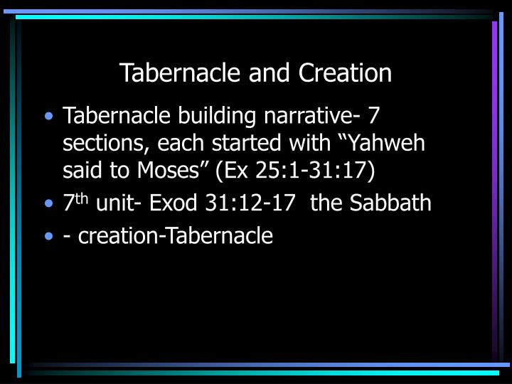 Tabernacle and Creation