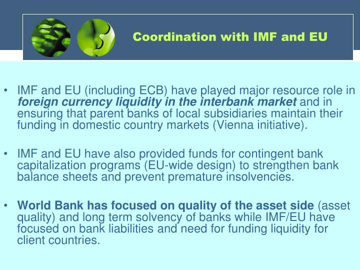 Coordination with IMF and EU