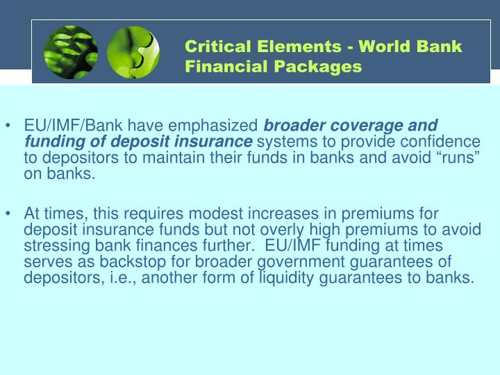 Critical Elements - World Bank Financial Packages