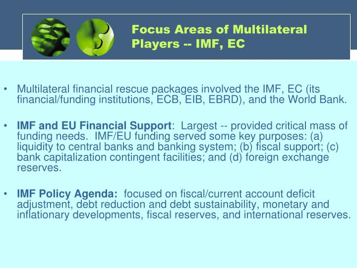 Focus Areas of Multilateral Players -- IMF, EC