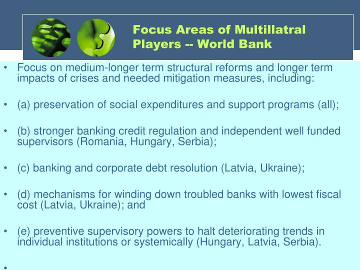 Focus Areas of Multillatral Players -- World Bank