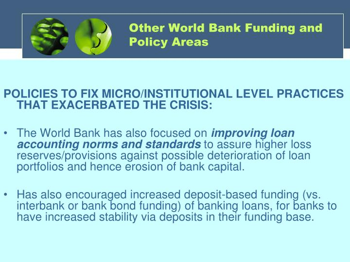 Other World Bank Funding and Policy Areas