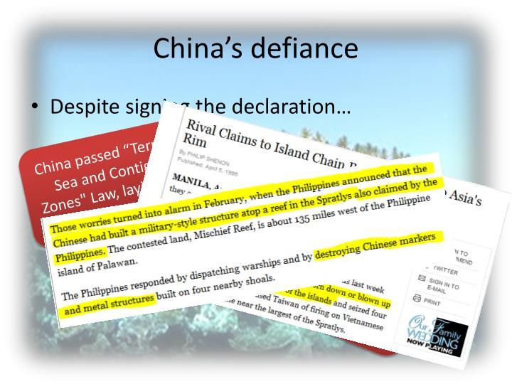 China's defiance