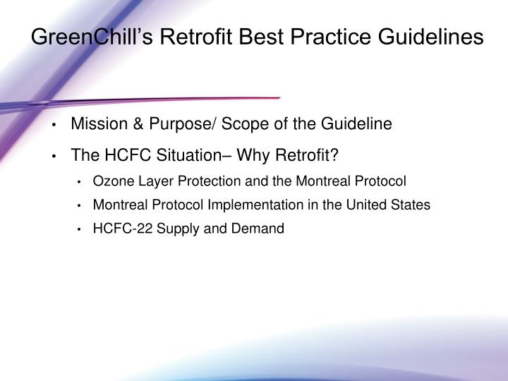 GreenChill's Retrofit Best Practice Guidelines