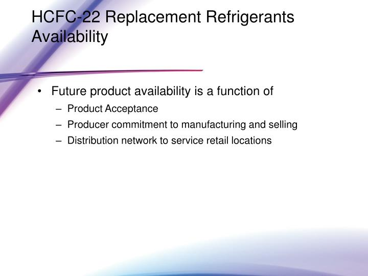 HCFC-22 Replacement Refrigerants Availability