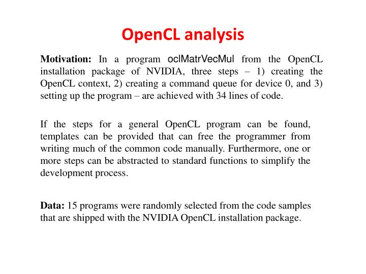 OpenCL analysis
