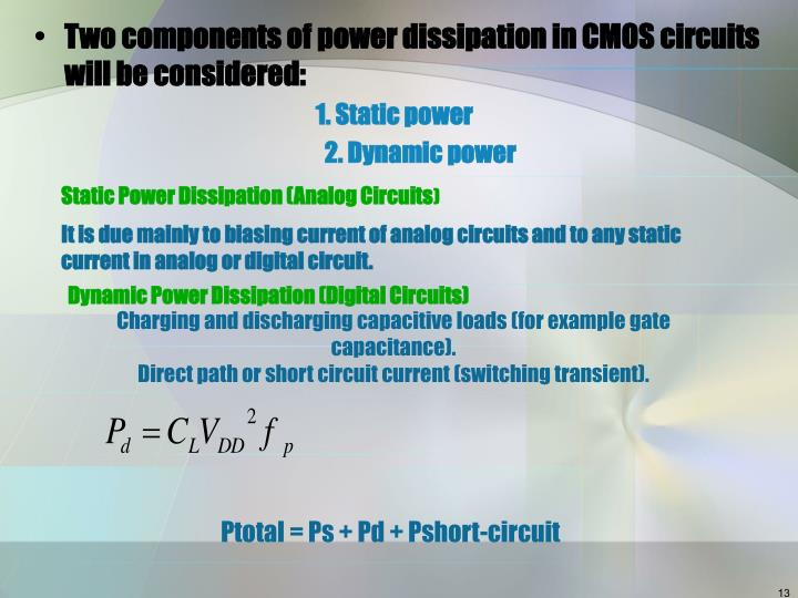 Two components of power dissipation in CMOS circuits will be considered: