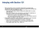 interplay with section 121