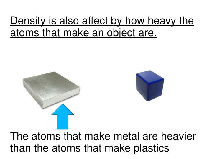 Density is also affect by how heavy the atoms that make an object are.