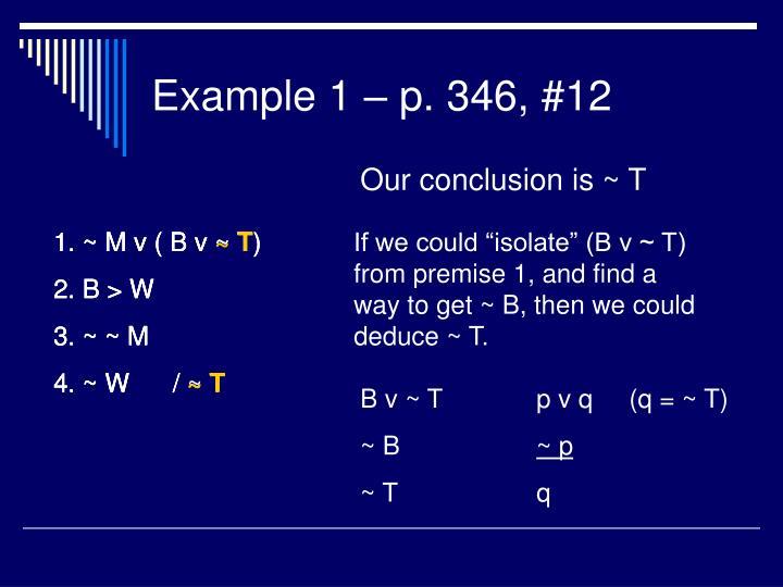 Example 1 – p. 346, #12