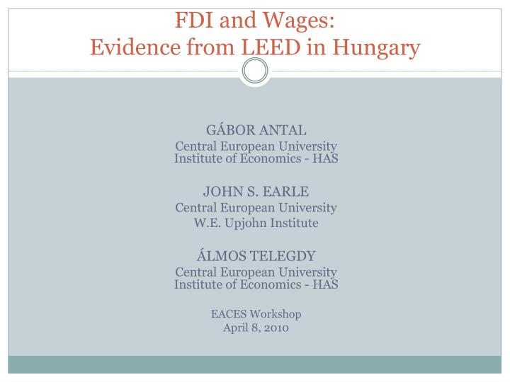Fdi and wages evidence from leed in hungary