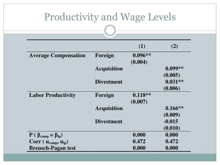 Productivity and Wage