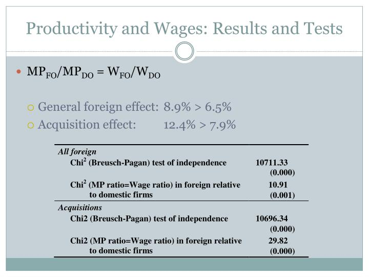 Productivity and Wages: Results and Tests