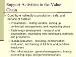 support activities in the value chain