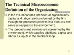 the technical microeconomic definition of the organization1
