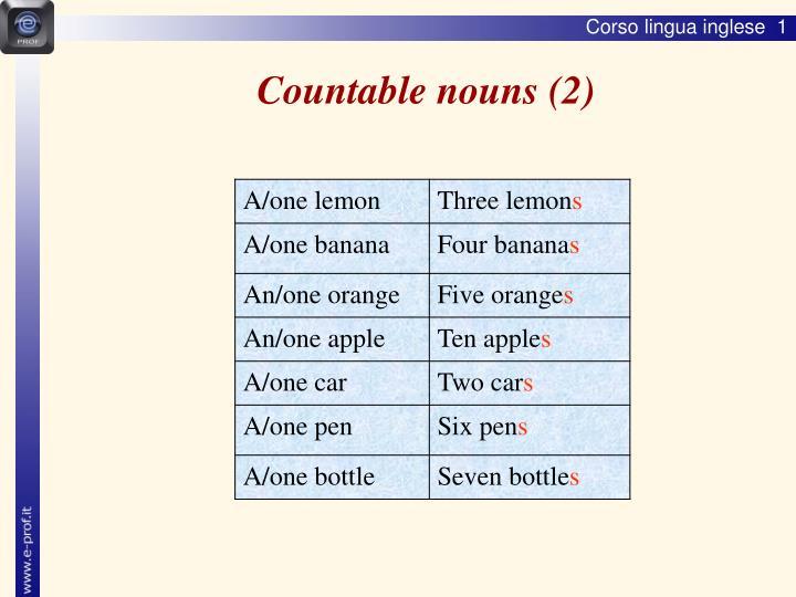 Countable nouns (2)