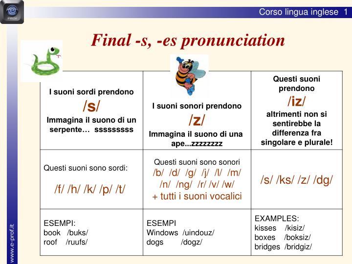 Final -s, -es pronunciation