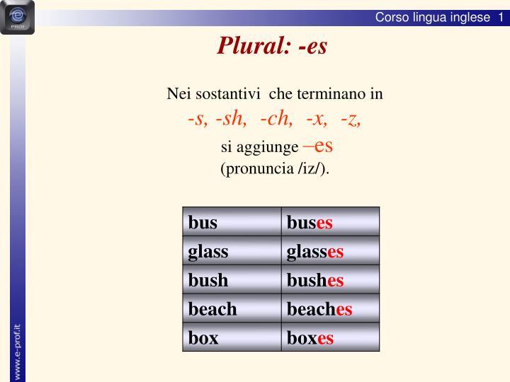 Plural: -es