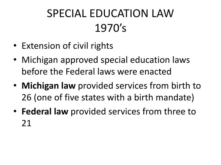 Special education law 1970 s