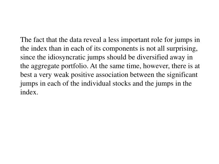 The fact that the data reveal a less important role for jumps in the index than in each of its components is not all surprising, since the idiosyncratic jumps should be diversified away in the aggregate portfolio. At the same time, however, there is at best a very weak positive association between the significant jumps in each of the individual stocks and the jumps in the index.