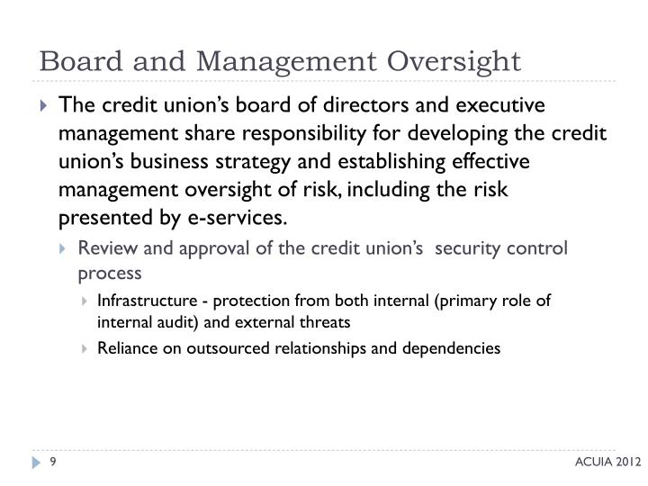 Board and Management Oversight