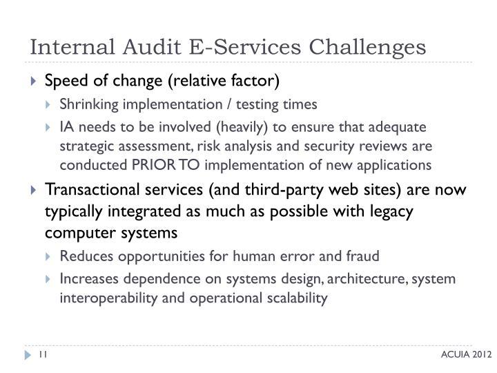 Internal Audit E-Services Challenges