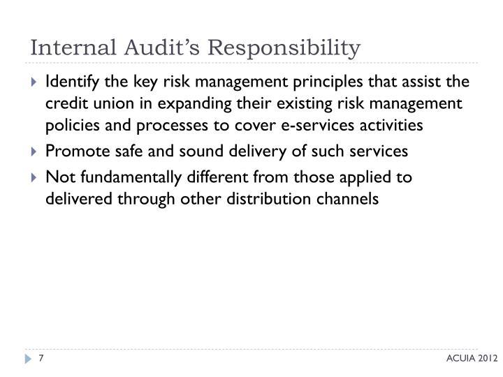 Internal Audit's Responsibility