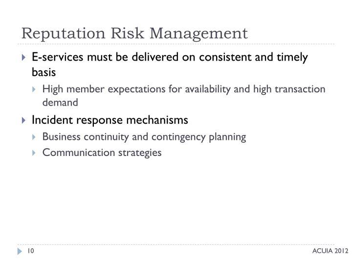 Reputation Risk Management