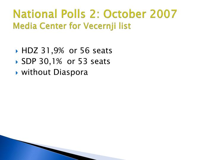 National Polls 2: October 2007