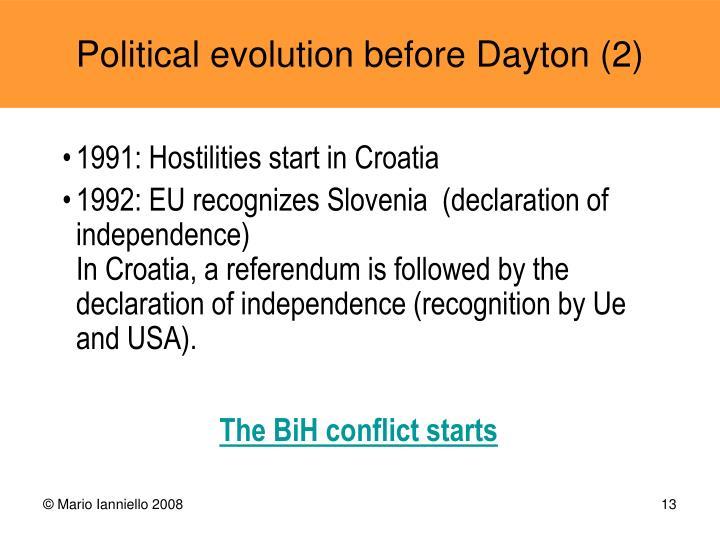 1991: Hostilities start in Croatia