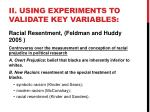 ii using experiments to validate key variables