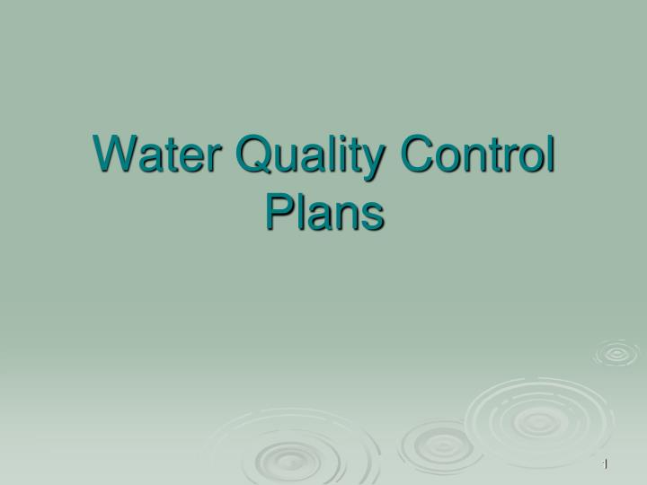 water quality control plans n.