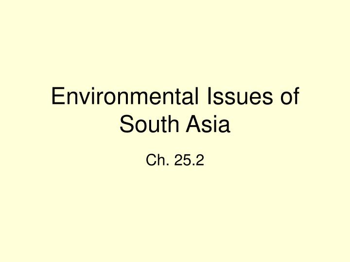 environmental issues of south asia n.