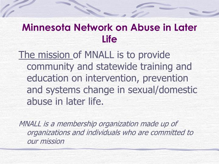Minnesota network on abuse in later life