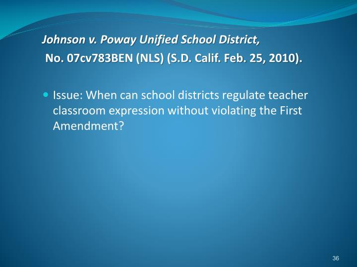 Johnson v. Poway Unified School District,