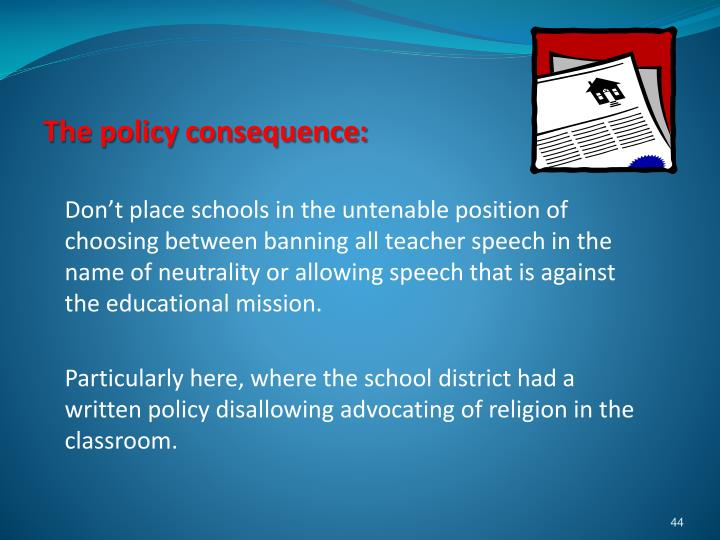 The policy consequence: