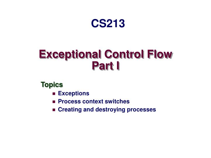 exceptional control flow part i n.