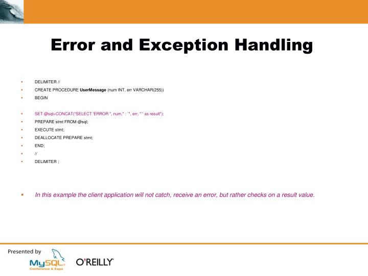 Error and Exception Handling
