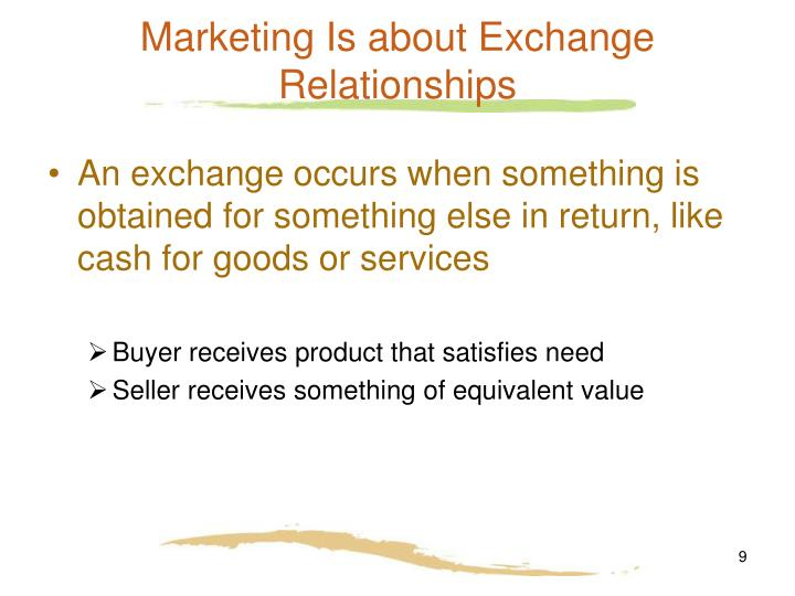 Marketing Is about Exchange Relationships