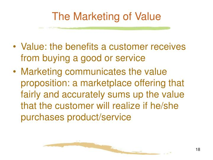 The Marketing of Value