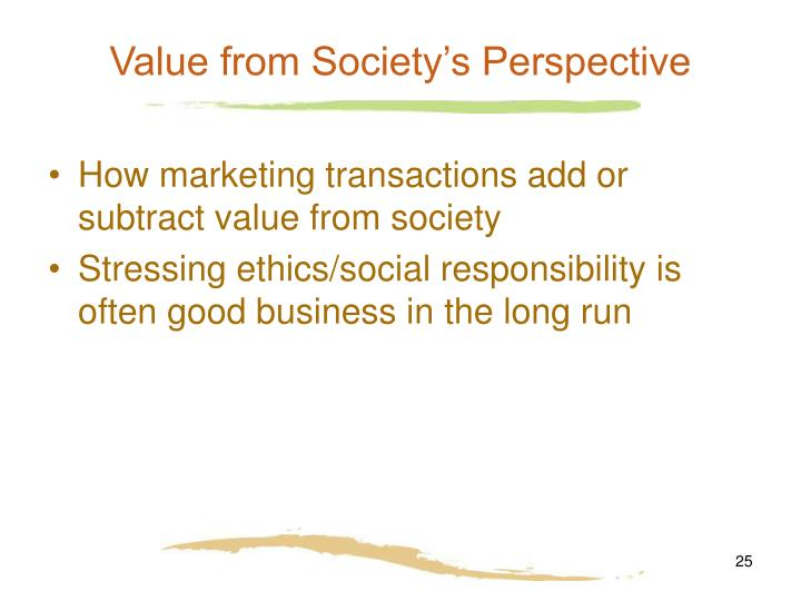 Value from Society's Perspective