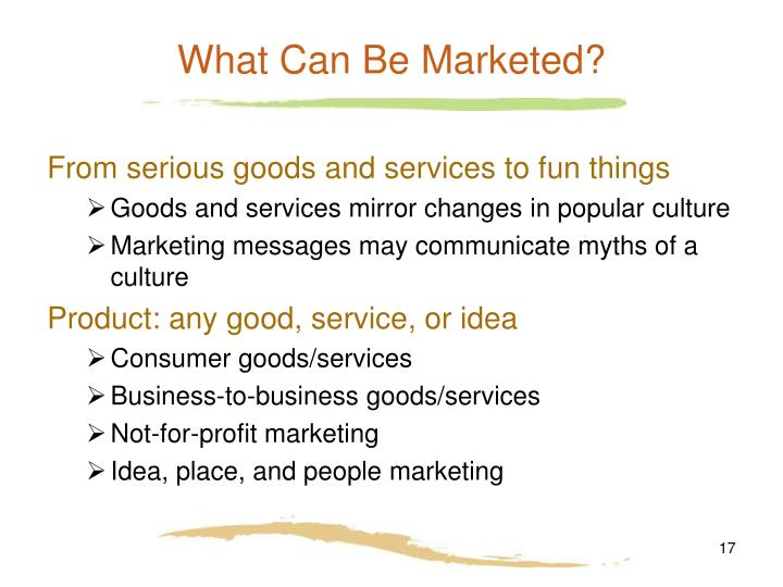 What Can Be Marketed?