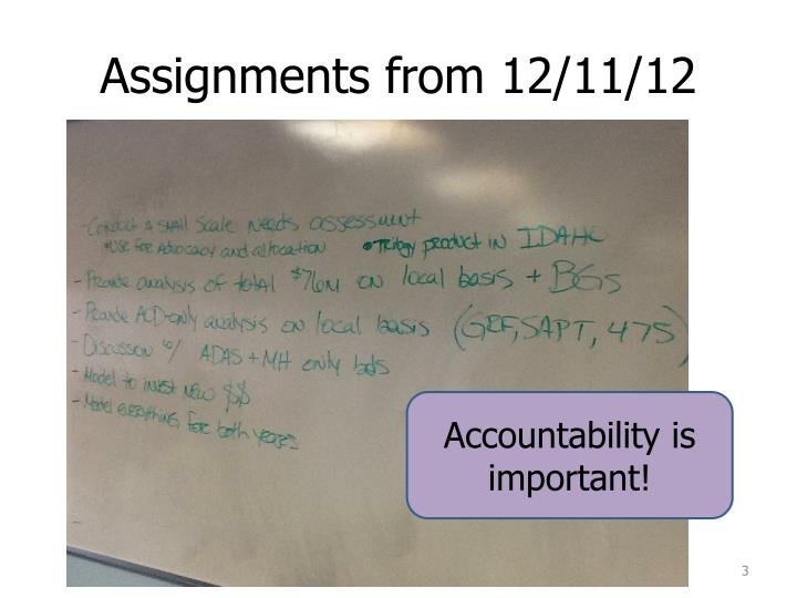 Assignments from 12 11 12